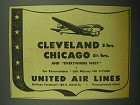 1943 United Air Lines Ad - Cleveland Chicago