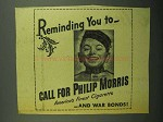1943 Philip Morris Cigarette Ad - Reminding You To Call