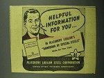 1943 Allegheny Ludlum Steel Ad - Helpful Information