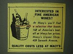 1943 Macy's Department Store Ad - Fine American Wines