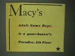 1943 Macy's Department Store Ad - Adult Game Dept.