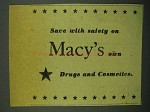 1943 Macy's Department Store Ad - Drugs Cosmetics