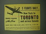 1943 Trans-Canada Air Lines Ad - 3 Flights Daily