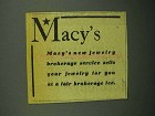 1943 Macy's Department Store Ad - Jewelry Brokerage