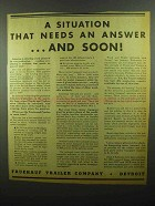 1942 Fruehauf Trailer Ad - Situation Needs an Answer