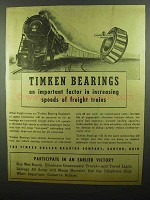 1942 Timken Bearings Ad - Increasing Speeds of Trains