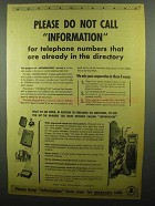 1942 Bell Telephone Ad - Please Do Not Call Information