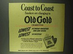1942 Old Gold Cigarettes Ad - Coast to Coast