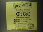 1942 Old Gold Cigarettes Ad - Preferred By Millions