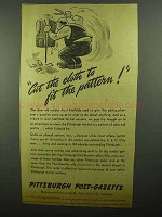 1942 Pittsburgh Post-Gazette Ad - Cut to Fit Pattern