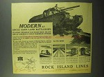 1942 Rock Island Lines Railroad Ad - Land Battleships