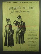 1942 Bonwit Teller Ad - 721 Club Gift Shop For Men