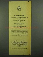 1942 Brooks Brothers Clothing Ad - Fall Price List