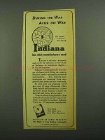 1942 Indiana Division of State Publicity Ad - The War