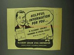 1942 Allegheny Ludlum Steel Ad - Helpful Information