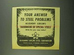 1942 Allegheny Ludlum Steel Ad - Your Answer