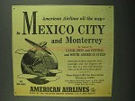 1942 American Airlines Ad - Mexico City