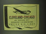 1942 United Air Lines Ad - Cleveland Chicago