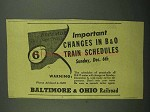 1942 Baltimore & Ohio Railroad Ad - Important Changes