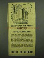 1942 Hotel Cleveland Ad - One Step in Right Direction