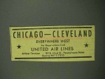 1942 United Air Lines Ad - Chicago Cleveland