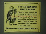 1942 Macy's Department Store Ad - If It's a New Game