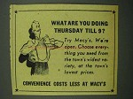 1942 Macy's Department Store Ad - Thursday Till 9