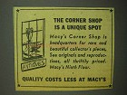 1942 Macy's Department Store Ad - The Corner Shop