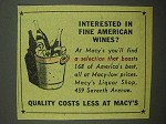 1942 Macy's Department Store Ad - Fine American Wines