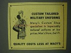 1942 Macy's Department Store Ad - Military Uniforms