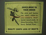 1942 Macy's Department Store Ad - Shoes Made to Order