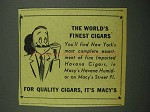 1942 Macy's Department Store Ad - World's Finest Cigars