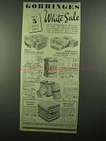1939 Gorringes Linens Ad - White Sale