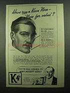 1939 K4's Cigarettes Ad - Keen Nose for Value