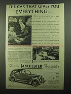 1939 Lanchester Roadrider Car Ad - Gives Everything