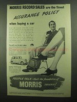 1939 Morris 12-4 Car Ad - Record Sales Assurance Policy