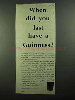 1939 Guinness Beer Ad - When Did You Last Have Guinness