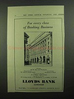1939 Lloyds Bank Ad - For Every Class of Business