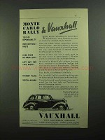 1939 Vauxhall 12 Car Ad - Monte Carlo Rally