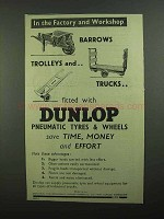 1939 Dunlop Tires Ad - In The Factory and Workshop