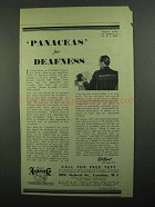 1939 Ardente Hearing Aid Ad - Panaceas for Deafness