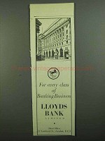 1939 Lloyds Bank Ad - Every Class of Business