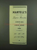 1939 Martell's Brandy Ad - Very Fine Liqueur Brandies