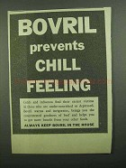 1939 Bovril Meat Extract Ad - Prevents Chill Feeling