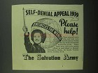 1939 The Salvation Army Ad - Self-Denial Appeal