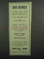 1939 Barclays Bank Ad - Safe Deposit