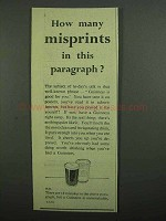 1939 Guinness Beer Ad - How Many Misprints