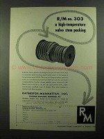 1950 Raybestos-Manhattan 303 Valve Stem Packing Ad