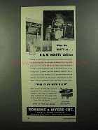 1950 Robbins & Myers Electric Hoist Ad - When Heat's On