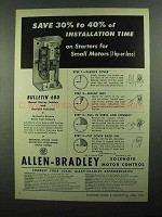1950 Allen-Bradley Bulletin 600 Starting Switches Ad - Installation Time